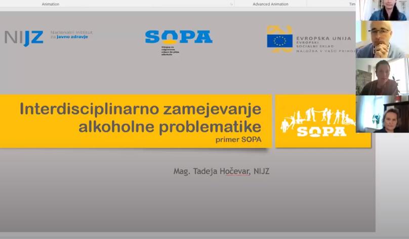 Predstavitev SOPA mreži organizacij za pomoč pri težavah z alkoholom